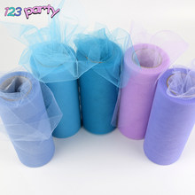 25 yards 15cm Baby Shower Tulle Roll Spool Tutu Wedding Decoration Organza Laser DIY Crafts Birthday Party Supplies(China)