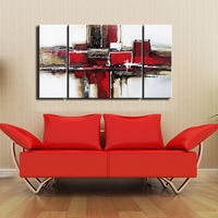 3 Panels Group Modern Abstract Painting Of Geometric Oil Paintings Heavy Texture With Acrylic Paints On