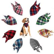 Perro pañuelo pequeño perro babero pañuelo lavable cómodo de cuadros de algodón de impresión de perro pañuelo corbata de aseo de mascotas accesorios