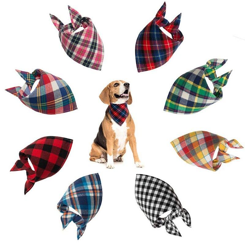 Dog Collar Bandana Dog Bandanas Large Pet Scarf Pet Bandana For Dog Cotton Plaid WashableBow ties Collar Cat Dog Scarf Large Dog Accessories 10