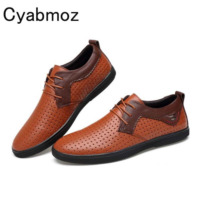 Cyabmoz Summer Punching Breathable Genuine Leather Men Shoes Embossed Weave Plaid Lace Up Business Casual Shoes Men Big Size 46 big size 47 breathable men genuine leather shoes cowhide casual brand men flat shoes summer fashion lace up foowear for adults