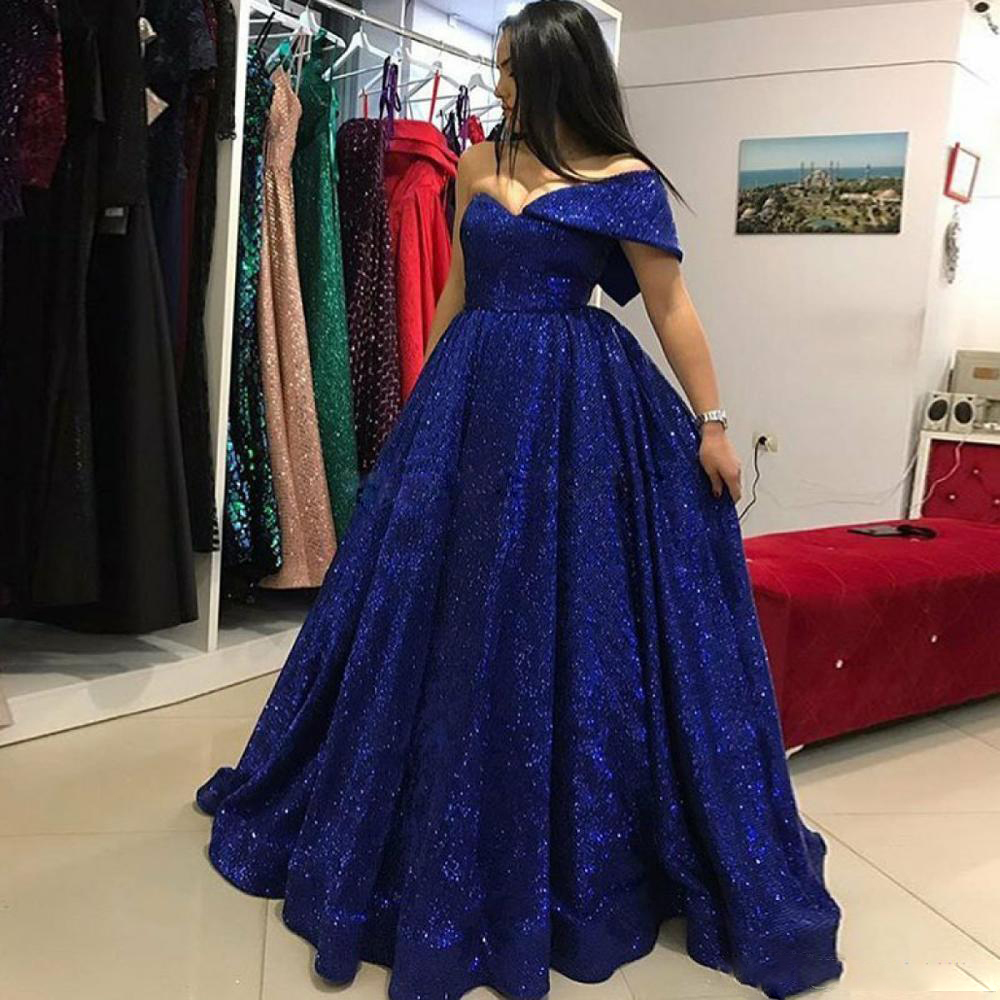 Blue Sequined   Prom     Dresses   One Shoulder A Line Evening Gowns Saudi Arabia Floor Length Formal Party   Dress   Custom Made