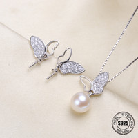 Fashion Micro Pave Zircon Bowknot Sterling Silver Jewelry Sets Accessories Making DIY Handmade For Women Pearl Jewelry Findings