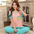 Pajamas Women Spring And Summer Pajama Ladies Pyjamas Short-Sleeve+Trousers Sleepwear Cotton Women Lounge Pajama Sets 3XL