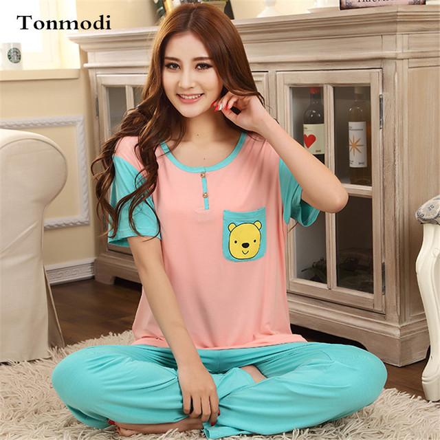 Pijama Pijama Pijama Das Senhoras Das Mulheres Primavera E No Verão Curto-Luva + Calças de Algodão Sleepwear Conjuntos Sala de Pijama Das Mulheres 3XL