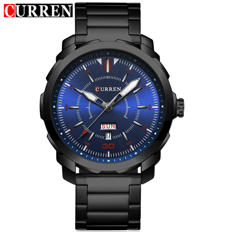 Curren Men Quartz Watch Stainless Steel Silver Black Band Auto Date Week Day Fashion Sport Male Wristwatches with tool 8266 steel band quartz watch with date and week display for men longbo 80146
