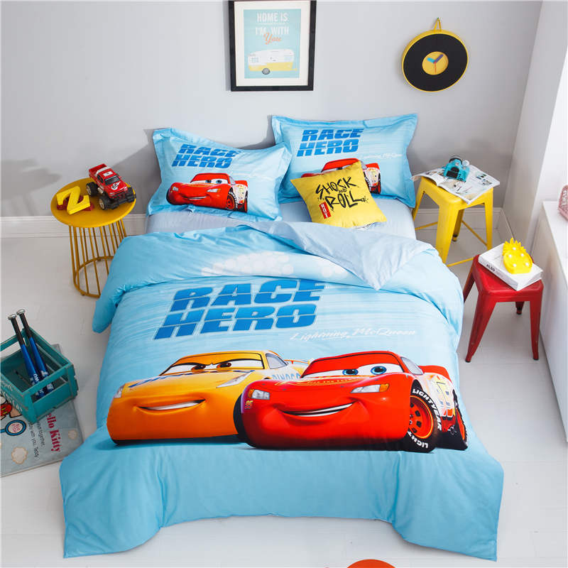 cotton printed bedding disney Cars McQueen bed linen ...