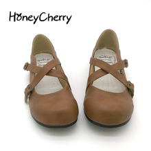 2014 new Japanese students doll shoes buckle cute round single flat womens flats