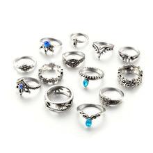 Tocona 13pcs/Set Bohemia Antique Silver Crown Flower Unicorn Carved Rings Sets