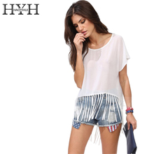 hot deal buy hyh haoyihui white t-shirt women o-neck short sleeve tassel hem basic tops tees ladies casual loose chiffon short tees female