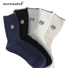 Morematch 1Pair Autumn Winter Men Sock Casual Cotton Socks Harajuku Cartoon Owl Avatar Embroidery 5 Colors Optional