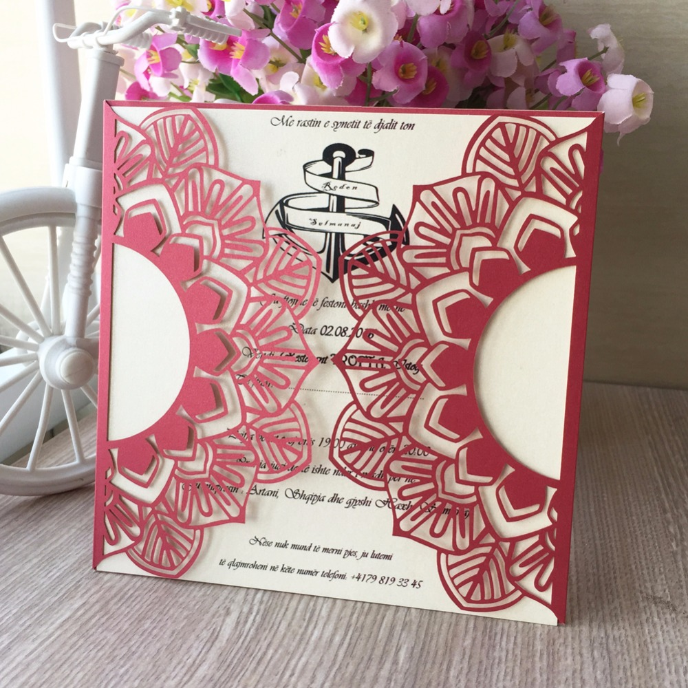 50pcs/lot lace wedding Party decoration invitation card two folded ...