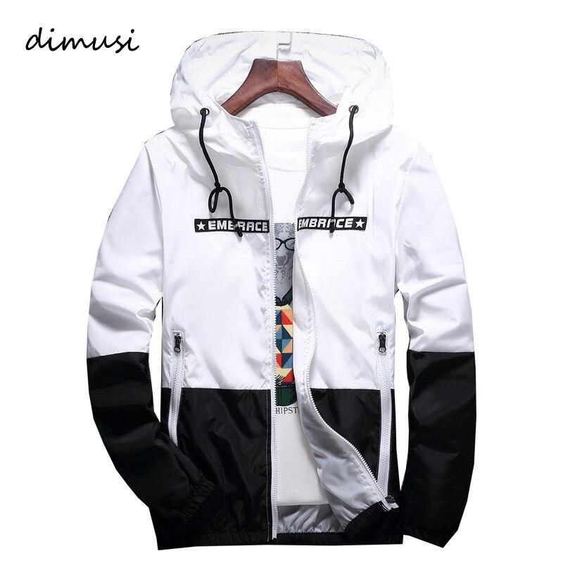 DIMUSI Spring Autumn Men's Jackets Hip Hop Jacket Windbreaker Hooded Casual Zipper Male Retro Vintage Streetwear Jackets,TA316