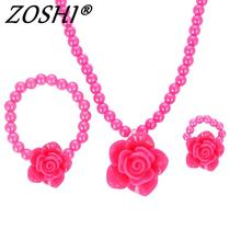 ZOSHI Kids Baby Girl's Imitation Pearls Beaded Sun Flower Necklace Bracelet Ring Jewelry Set Children Party Gift Wholesale Price(China)