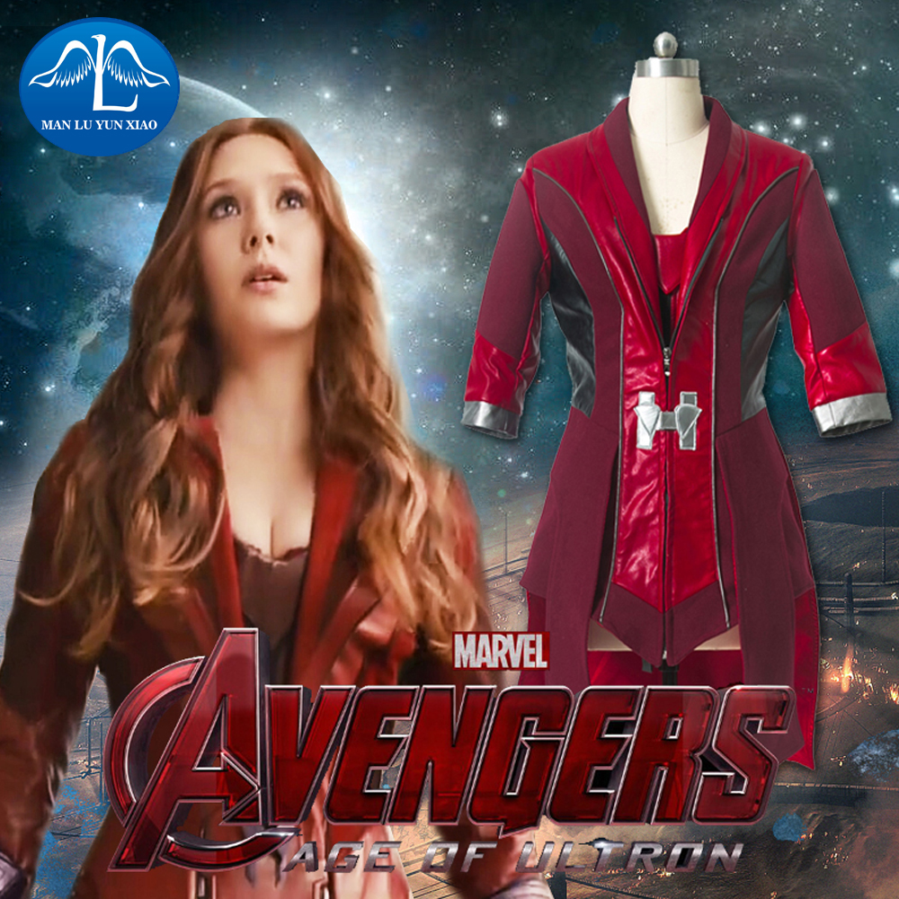 MANLUYUNXIAO Scarlet Witch Cosplay Avengers Age of Ultron Wanda Maximoff Scarlet Witch Costume For Adult Women Cosplay Costume