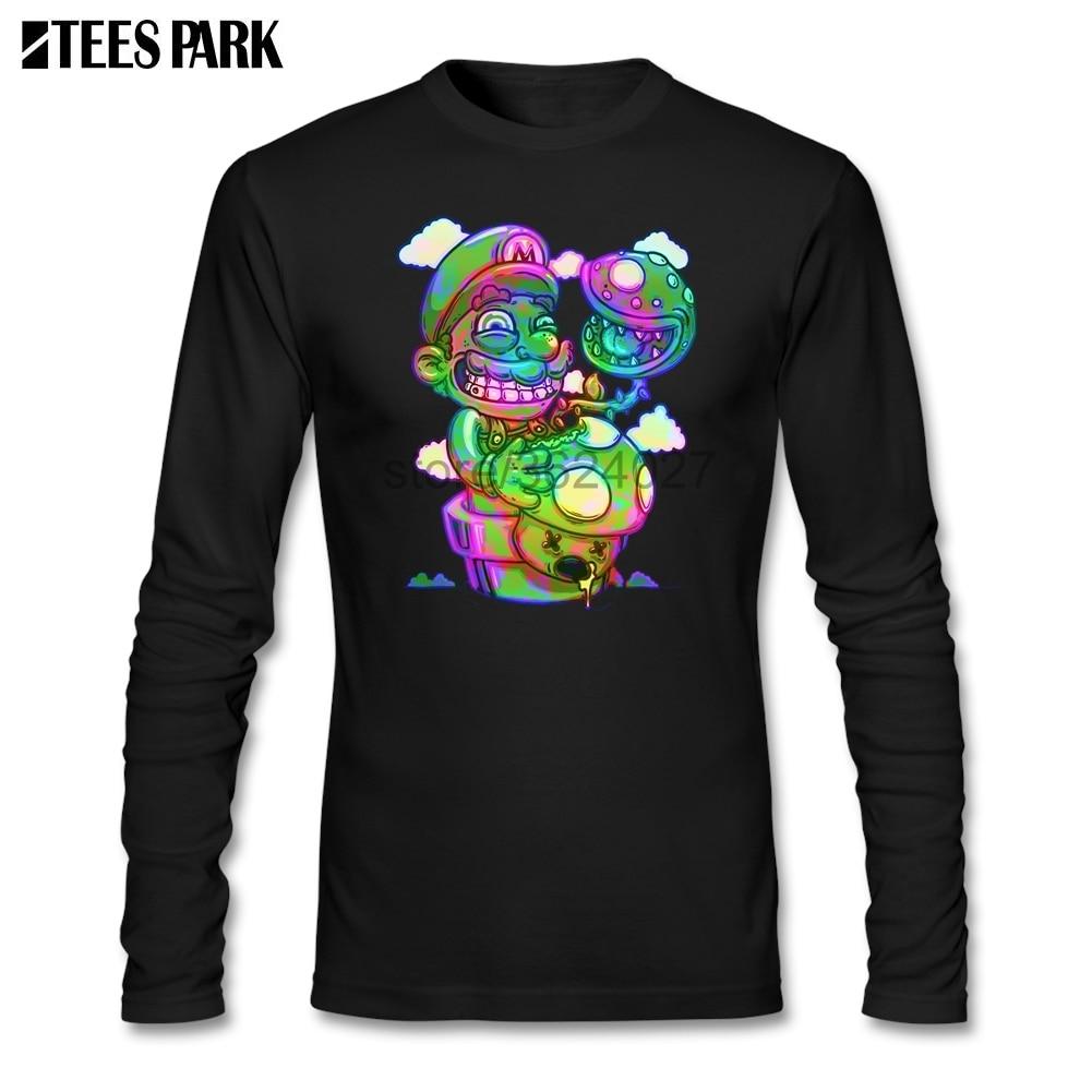 Trippy Mario Super Mario psychédélique Shrooms champignons T-shirts hommes Unique 100% coton vêtements haut imprimé à manches longues t-shirt
