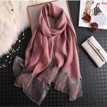 2019 Solid Beading women scarf summer silk scarves lady shawl wrap hijab foulard female bandana pashmina Pearl jewel headband pearl beading bell sleeve hijab long dress