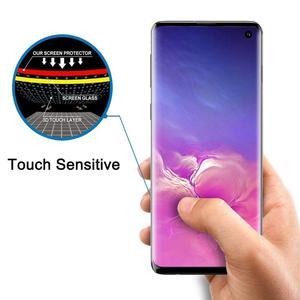 Image 1 - 10 adet/grup temperli cam Samsung galaxy S10 artı S10E S9 S8 not 10 Pro ekran koruyucu parmak izi kilidini film tam kapak