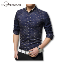 Big Size 5XL 2016 New Spring Non Iron Printed Men Shirts Male Long Sleeve Slim Fit