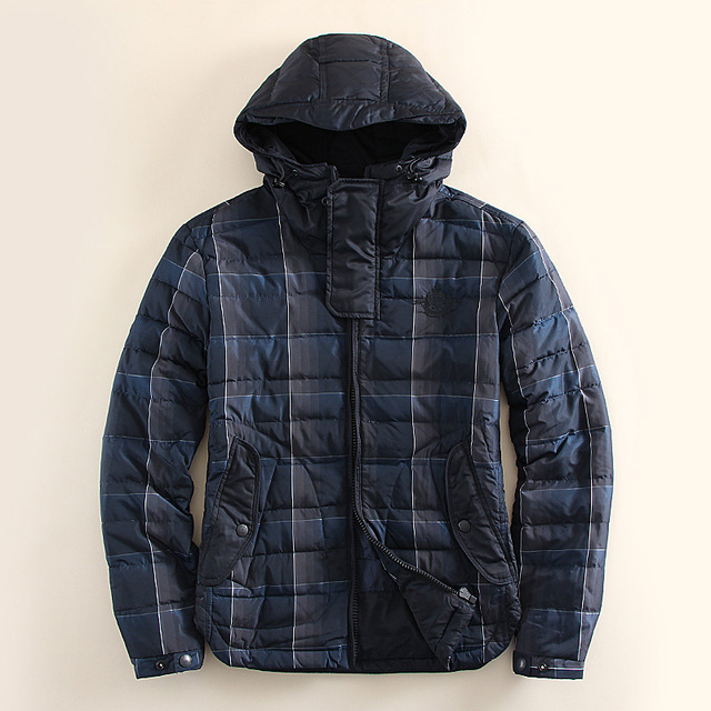 2016 Мужская Зима Теплая Даунс Куртка Марка Толстая Hat Мужчины плед Вниз Куртка Пальто Черный Мода капюшоном Плюс Размер S-XL продвижение