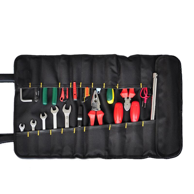 57*34.5cm 22 Pockets Roll Hardware Tool Bag Organizer Plier Screwdriver Spanner Carry Case Pouch Bag Package Home DIY Tool Hold