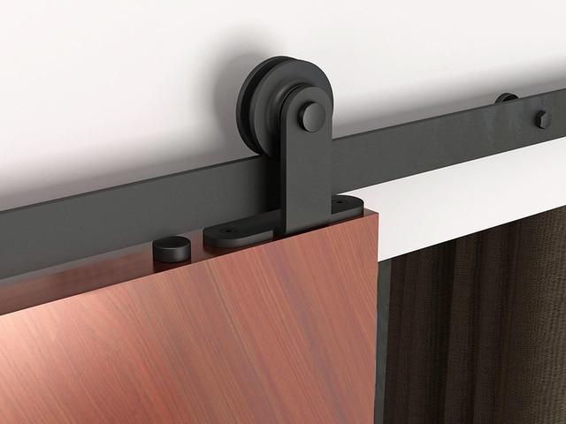 Buy 5ft 8ft top mounted rustic black for Top mount barn door hardware