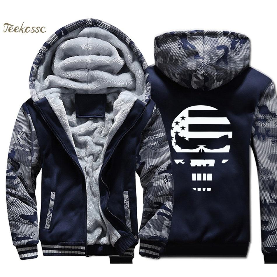 American Sniper Punisher Skull Navy Seal Hoodie Men Chris Kyle Skull Hooded Sweatshirt Coat Thick Fleece Warm Hip Hop Streetwear