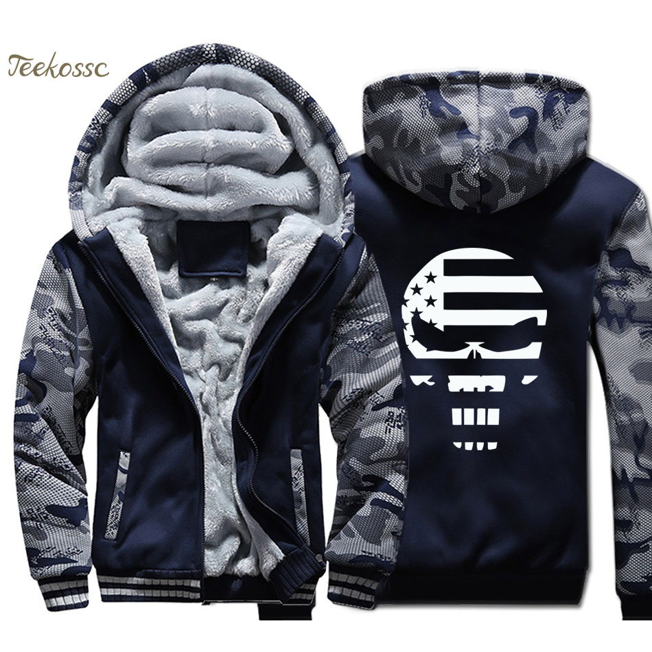 American Sniper Skull Navy Seal Hoodies Men Chris Kyle Sweatshirts Coats Winter Thick Fleece Warm Hip-Hop Sportswear