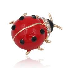 Adorable Ladybug Del Esmalte Broche de Metal Animal Crystal Rhinestone Prendas de Vestir Las Mujeres de Joyería de Moda 2016
