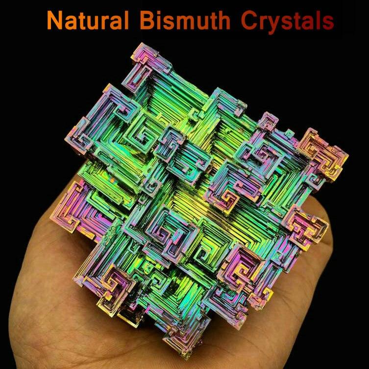 Bismuth Crystals Bismuth Bi Metal Crystal Rainbow Bright Metal Mineral Specimen Original Nature Art Artwork Decorative Article screenshot