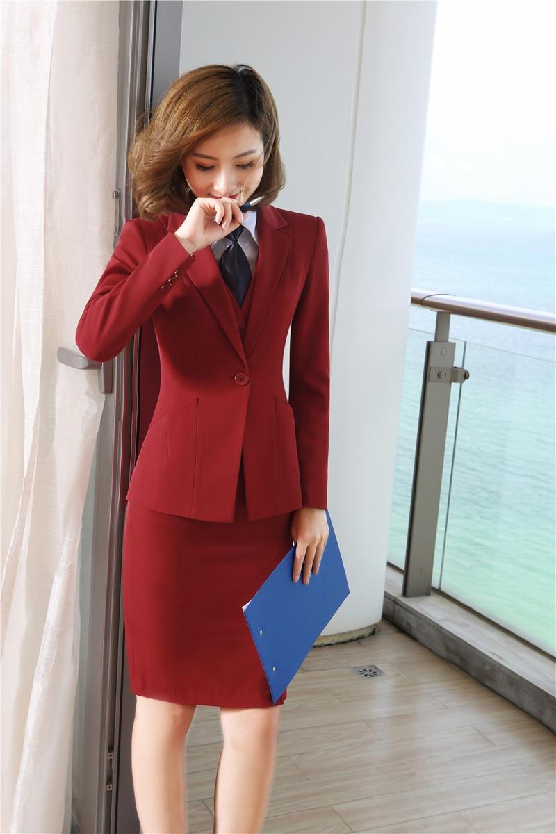 Cravate Costumes Travail Formel Dames Gilet Conceptions Wear Red Vestes Ensembles Et Pour Jupe Bureau Blue Blouses Avec dark Uniforme RzxtwqwO