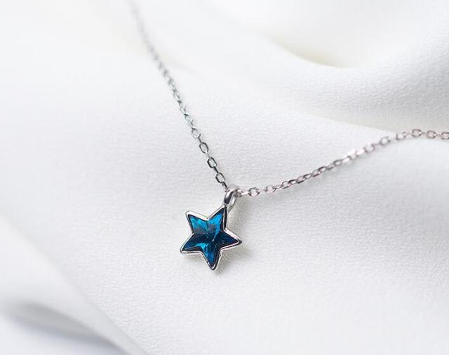 cute turkish animal long item pendant crystal silver color women blue sheep necklace star chain design