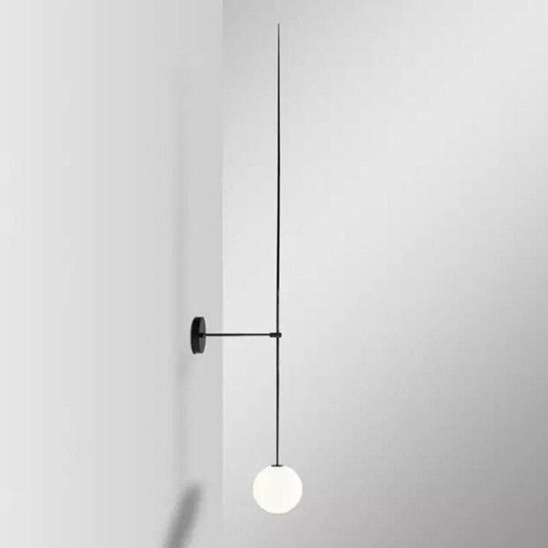 Abajur линия настенный светильник Nordic постмодерн прикроватный проход молочно-белый стеклянный шар светодио дный светодиодный настенный свет...