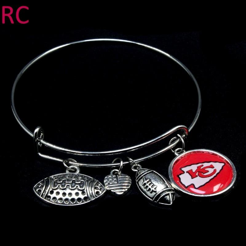 10pcs/lot Kansas City Chiefs Sports Bracelets I Love Football Charms Expandable Bangle & Bracelet Women Men Jewlery