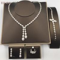 Fashion New White Gold And 18K Gold Plated Princess Wedding Jewelry Set 4 Pcs Set With