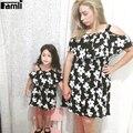 Famli 1 pc bebê mãe combinando vestidos de chiffon 2017 mãe filha família moda infantil verão de manga curta vestido floral outfits
