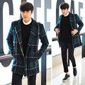 Thick Men Wool Blends Plaids Winter Coat 2015 Mens Pea Coat Male Homme Overcoat Casaco Masculino Peacoat Wool Jacket H4777