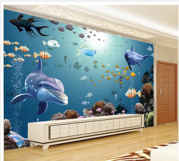 Favoloso Grande murale carta da parati papel de parede acquario di pesci  BP39
