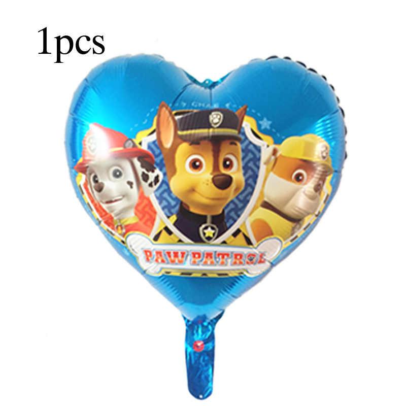 1 Uds. De Globos de aluminio de la patrulla canina con dibujos animados de corazones para perros, Globos de mano para decoración de fiesta de cumpleaños, juguetes para niños, Chase, Marshall, Sky y Ryder