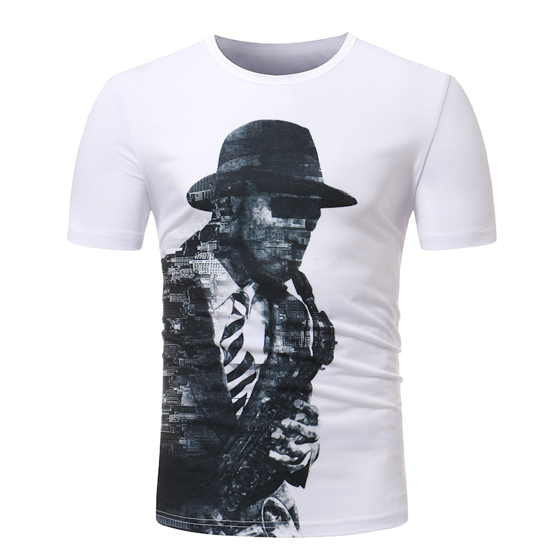 100% Cotton Sherlock Holmes printing T Shirt 2018 Mens T-shirts Summer Skateboard Tee Boy Hip hop Skate T-shirt Tops