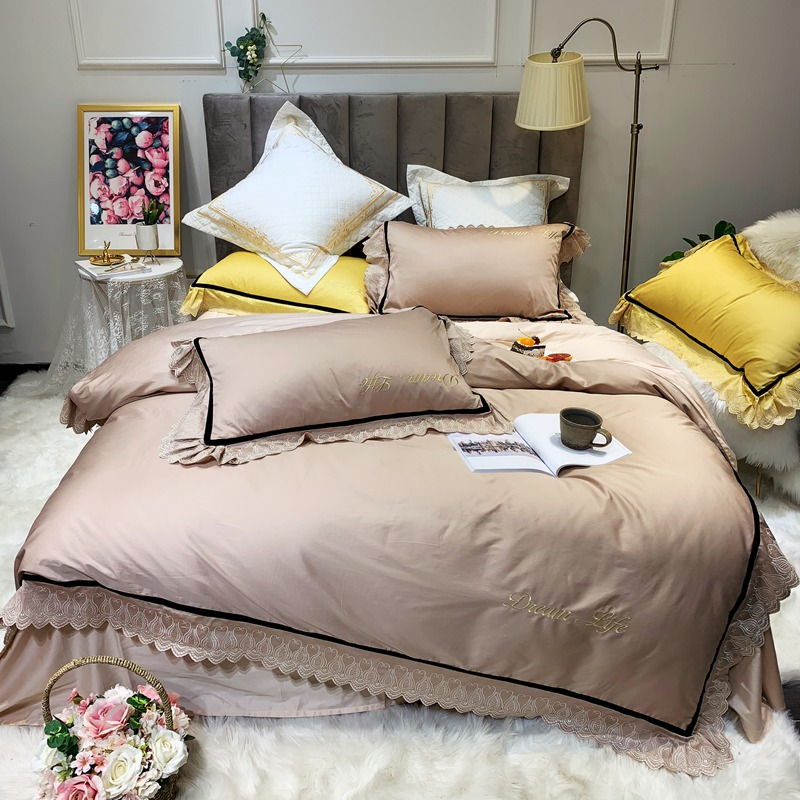 4 Pieces Lace Ruffle Duvet Cover Set 100 Egyptian Cotton King Size Queen Solid Rich Solid