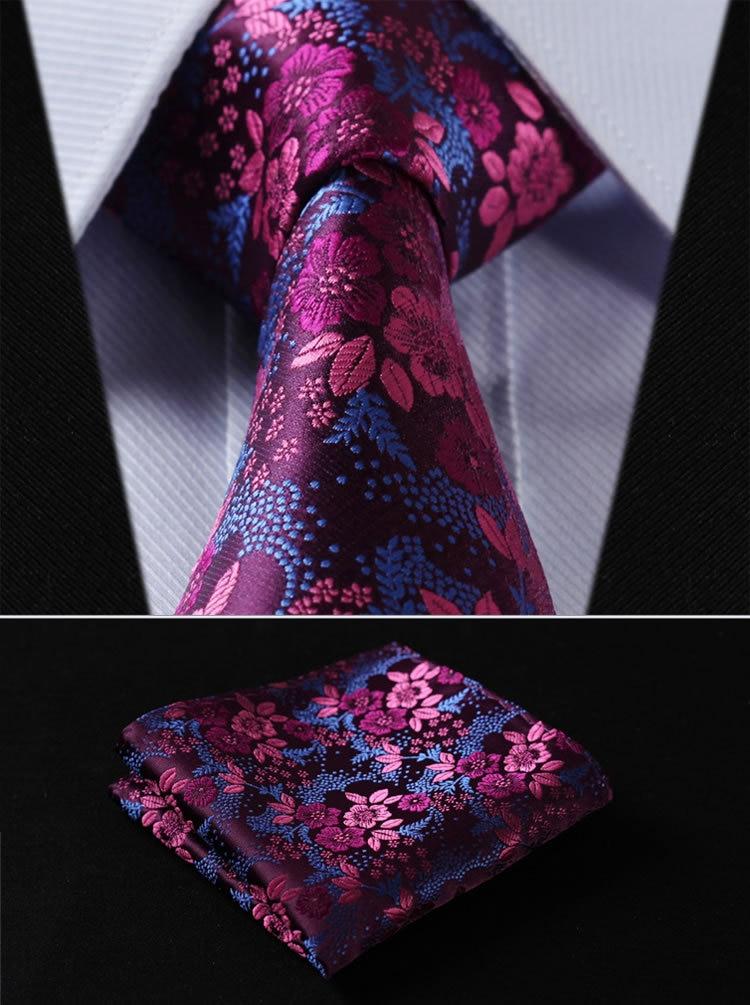 TF2005H8 Hot Pink Blue Floral 3.4 100%Silk Wedding Jacquard Woven Men Tie Necktie Pocket Square Handkerchief Set Suit
