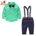 Monkids Nuevo 2017 Otoño Precioso Traje de Bebé Bebé Ropa de Bebé Ropa de la Tela Escocesa Shirt + Tirantes de Algodón pantalones