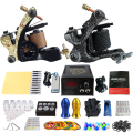 Beginner Complete Tattoo Kit 2 Professional Tattoo Machine Kit Rotary Machine Guns Power Supply Needle Grips Set TK202-6