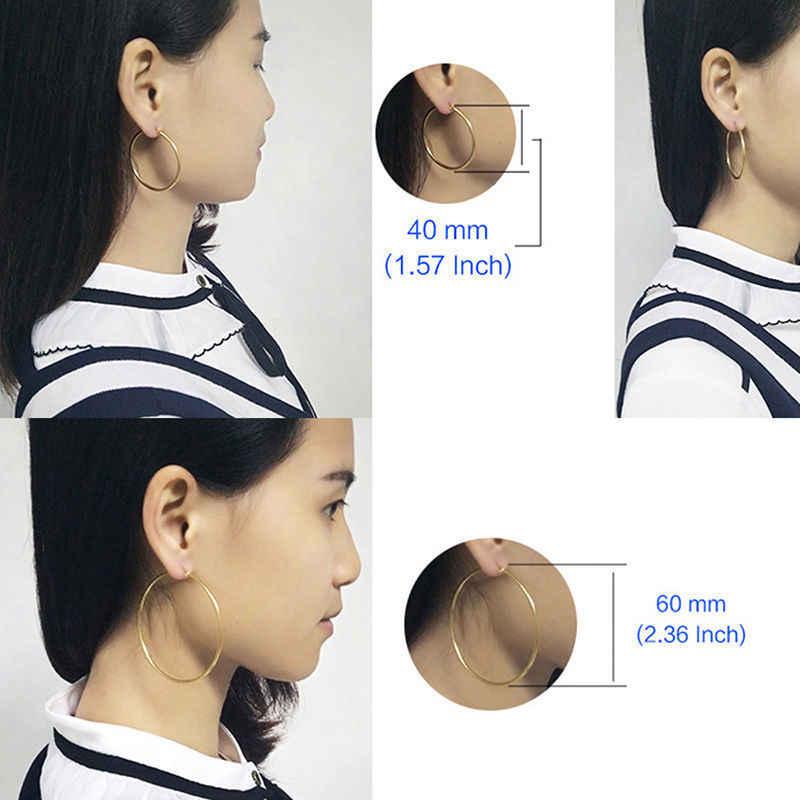 1 คู่ผู้หญิงต่างหูสแตนเลสสตีลกลม/หัวใจรูป Smooth ขนาดใหญ่ต่างหู Hypoallergenic เครื่องประดับ 30-60 มม
