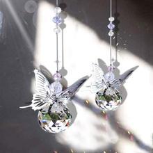 H& D ручной работы бабочка Suncatcher Радуга производитель хрустальный шар Призма кулон рождественские подвесные украшения для дома свадебный Декор сувениры