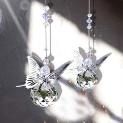 H & D Artesanal Borboleta Íris Suncatcher Prisma Bola De Cristal Fabricante de Pingente Ornamento De Suspensão Do Natal Decoração Do Casamento Casa Favores