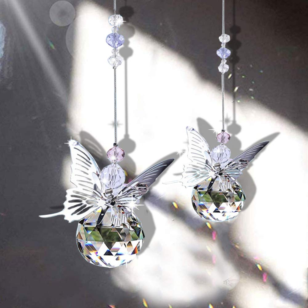 H&D Handmade Butterfly Suncatcher Rainbow Maker Crystal Ball Prism Pendant Christmas Hanging Ornament Home Wedding Decor Favors