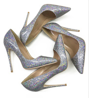 Silver flashing seven color sequins, pointed high heel shoes, women's thin and shallow shoes, small shoes, 10cm sexy red women's
