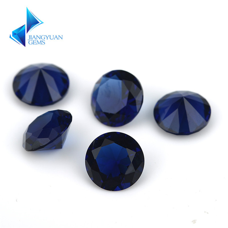 Size 1.0-15mm Blue Color Round Shape Machine Cut Loose Borland Glass Stone Synthetic Gems For Jewlry